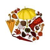 De herfsttoebehoren in cirkel worden verzameld die royalty-vrije illustratie