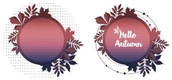 De herfstverkoop weg Ronde banners met herfst rode esdoorn, lijsterbessengebladerte stock illustratie