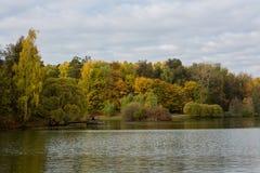 De herfstvijver in het park Tsaritsyno (Moskou) royalty-vrije stock foto