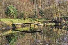 De herfstvijver met een platform voor vissers stock afbeeldingen