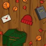 De herfstvoorwerpen op de houten achtergrond Stock Afbeelding
