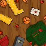 De herfstvoorwerpen op de houten achtergrond Stock Afbeeldingen