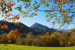 De herfstweide en bergen in het nationale park van Pieniny, Slowakije royalty-vrije stock foto's