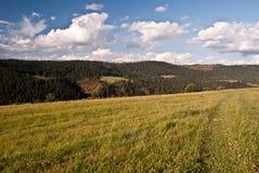 De herfstweide met aardig panorama van bergen in Slowakije Stock Afbeelding