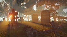De herfstzonsondergang in een kerkhof Stock Foto's