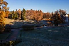 De herfstzonsondergang in park Royalty-vrije Stock Foto's