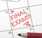 De herinnering van de kalender, definitieve examens Stock Fotografie