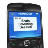 De herinnering van de kalender, hersenen het stormen zitting Royalty-vrije Stock Afbeelding