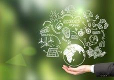 De hernieuwbare energiebronnenschetsen van de mensenholding Stock Afbeeldingen