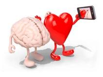 De hersenen en het hart nemen een zelfportret met haar slimme telefoon Stock Fotografie