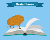 De hersenen lopen op de boekvector Leid uw hersenen op Stock Foto