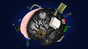 De hersenen met de symbolen van de twee hemisferen #4 Stock Afbeelding