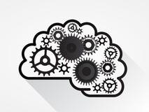De hersenen van het ideetoestel zijn gemiddeld idee in het werk voor bedrijfsingenieur Stock Foto's