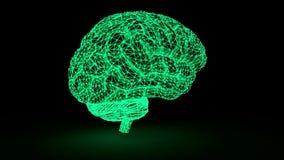 De hersenen van het veelhoekige netwerk gloeien Een computermodel van de hersenen vector illustratie