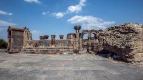 De herstelde ruïnes van de tempel van Zvarnots de Tempel van Vigi Stock Afbeeldingen