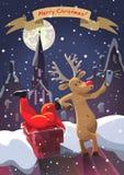 De herten doen met zelf geplakt in schoorsteen Santa Claus Stock Afbeeldingen