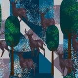 De herten uitstekend naadloos patroon van het cirkelstof Royalty-vrije Stock Afbeeldingen