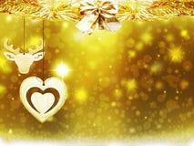 De hertensneeuw van het achtergrondkerstmis speelt de gouden gele hart de illustratie nieuw jaar mee van het decoratieonduidelijk Royalty-vrije Stock Fotografie