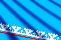 De het Autonome District yamal-Nenets kleurrijke golven en illustratie van de close-upvlag royalty-vrije illustratie