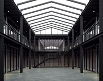 De het bureauruimte van de zolderstijl met zwarte 3d staalstructuur geeft terug royalty-vrije illustratie
