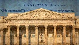 De het Capitoolbouw van Verenigde Staten met beroemde verklaring stock fotografie