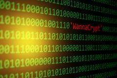 De het Conceptenveiligheid van WannaCrypt en van de Binaire code en Malware-atta Stock Afbeeldingen