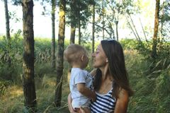 De het de dagmamma en zoon van de gelukkige moeder in een pijnboom bosmamma en de zoon glimlachen en koesteren Familie vakantie e stock afbeeldingen