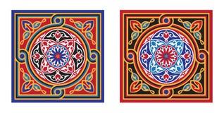 De het Egyptische 5-rood & Zwarte van het Patroon van de Stof van de Tent Stock Foto's