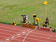 De het eindigen lijn van het 2015 IAAF Kampioenschap van de Wereldatletiek in Peking Stock Fotografie