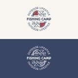 De het embleemreeks die van het visserijkamp uit vissen op de haak bestaan voor onderzoekt Stock Afbeelding