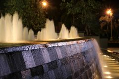 De het fonteinnacht en licht Royalty-vrije Stock Afbeeldingen
