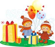 De het grappige meisje en jongen van het beeldverhaal met giften en ballons Royalty-vrije Stock Afbeelding