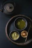 De het groene poeder en drank van theematcha Royalty-vrije Stock Afbeelding