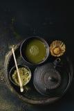 De het groene poeder en drank van theematcha Royalty-vrije Stock Foto's