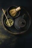 De het groene poeder en drank van theematcha Stock Fotografie