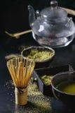 De het groene poeder en drank van theematcha Royalty-vrije Stock Fotografie
