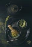 De het groene poeder en drank van theematcha Stock Foto