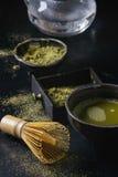 De het groene poeder en drank van theematcha Royalty-vrije Stock Foto