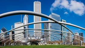 De het Grote Gazon en Horizon van Chicago in Millenniumpark Stock Afbeeldingen