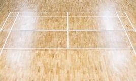 De het houten hof en netten van het vloerbadminton Houten vloer van sporten Ha royalty-vrije stock foto