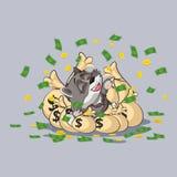 De het jongsticker van de wolfswelp emoticon ligt gelukkig royalty-vrije illustratie