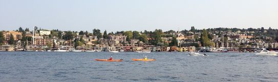 De het meerunie van de binnenstad van Seattle, boot stock fotografie