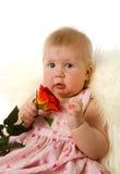 De het meisjesholding van de baby nam toe royalty-vrije stock afbeeldingen