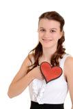 De het meisjesholding van de tiener schittert hart royalty-vrije stock afbeelding