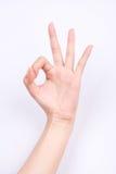 De het meisjessymbolen van de vingerhand isoleerden het gesturing teken van de conceptenhand o.k. o.k. met witte achtergrond goed Stock Foto's