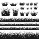 De het naadloze patroon en struiken van het grassilhouet Stock Foto