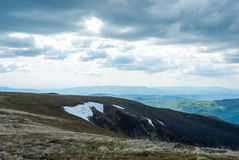 De het noordenkant van de berg Sneeuw op de Berg Het landschap van de berg Royalty-vrije Stock Afbeelding