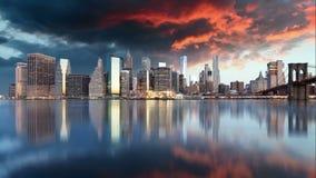 De het panoramawolkenkrabbers van de binnenstad van New York, Tijdtijdspanne, de V.S. stock videobeelden