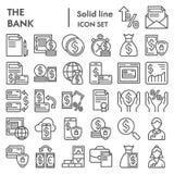 De het pictogramreeks van de banklijn, de inzameling van financiënsymbolen, vectorschetsen, embleemillustraties, betaling onderte stock illustratie