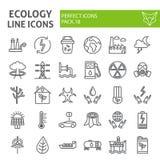 De het pictogramreeks van de ecologielijn, de inzameling van ecosymbolen, vectorschetsen, embleemillustraties, energie onderteken vector illustratie
